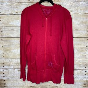 Victoria's Secret Red Full Zip Hoodie Size Small